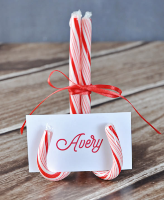 table decor ideas - candy cane place card holders