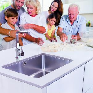 family choosing a kitchen sink