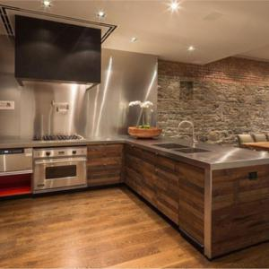 metal and wood kitchen