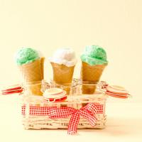 homemade ice cream recipes, mint and vanilla ice cream cones